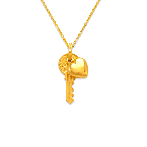 166-032 Large Heart and Key Charm Pendant