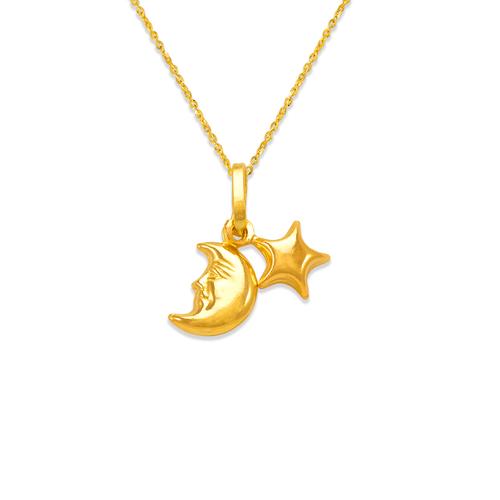 166-034 Moon and Star Charm Pendant