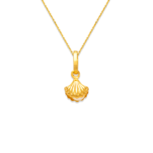 166-075 Clam with Pearl Charm Pendant
