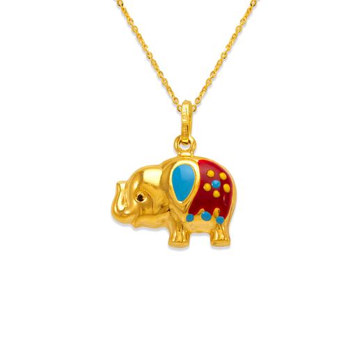 166-316 Elephant Enamel Charm Pendant
