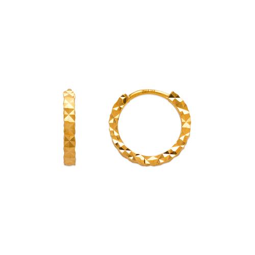 142-001 12mm Diamond Cut Huggie Earrings