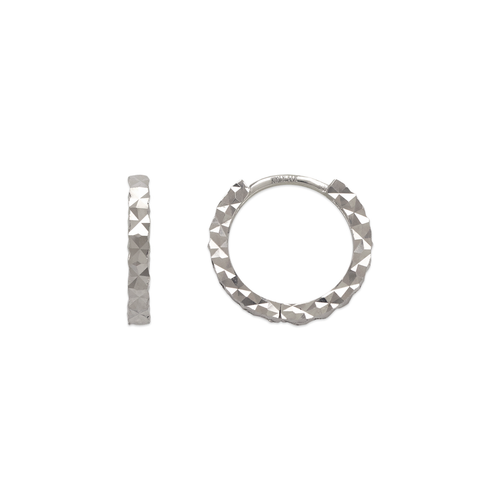 142-001W 12mm Diamond Cut Huggie Earrings