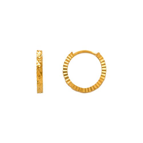 142-002 12mm Diamond Cut Huggie Earrings