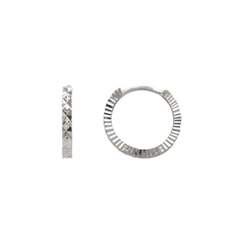 142-002W 12mm Diamond Cut Huggie Earrings