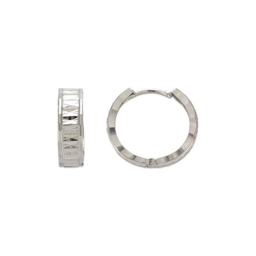 142-006W 13mm Diamond Cut Huggie Earrings