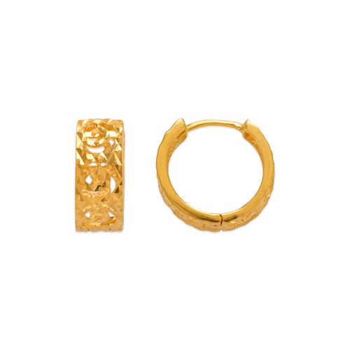 142-007 14mm Diamond Cut Huggie Earrings