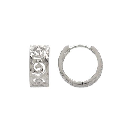 142-007W 14mm Diamond Cut Huggie Earrings