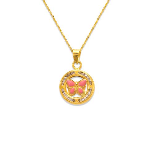 367-044PK Pink Mini Round Enamel Butterfly CZ Pendant