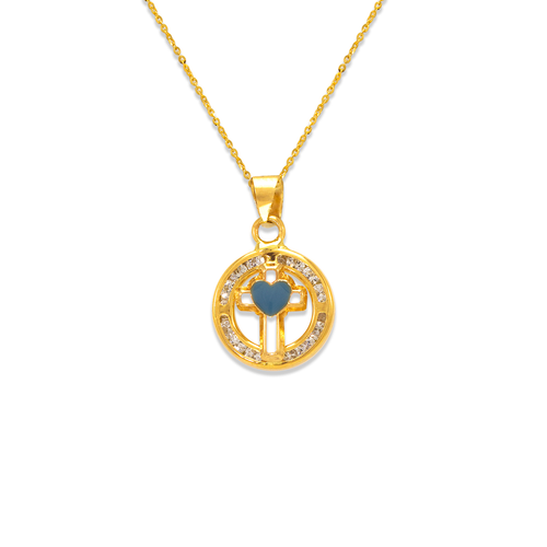 367-045BL Blue Round Mini Cross Enamel CZ Pendant
