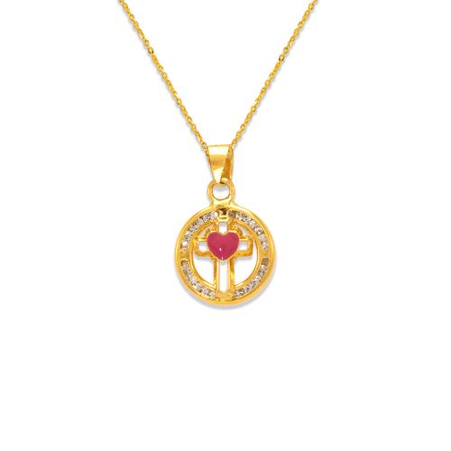 367-045PK Pink Round Mini Cross Enamel CZ Pendant