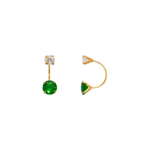 343-602GR Green Telephone CZ Stud Earrings