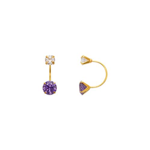 343-602PL Purple Amethyst Telephone CZ Stud Earrings