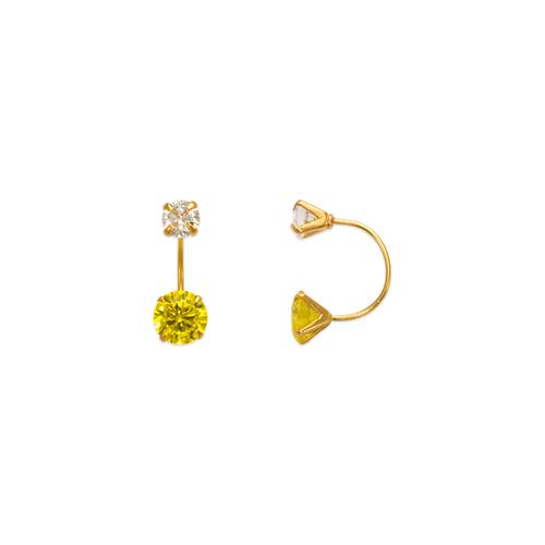 343-602YE Yellow Telephone CZ Stud Earrings