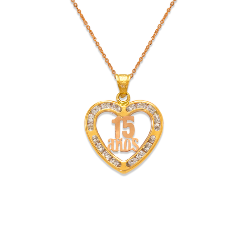 367-511T 15 Anos Heart CZ Pendant