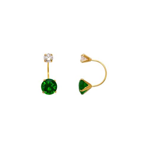 343-603GR Green Telephone CZ Stud Earrings