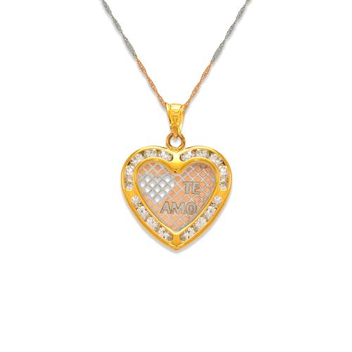 367-556T Te Amo Heart CZ Pendant