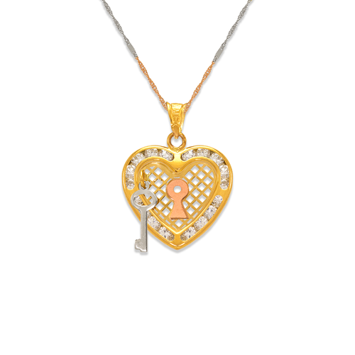 367-557T Heart and Key CZ Pendant