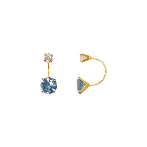 343-603LB Light Blue Aquamarine Telephone CZ Stud Earrings