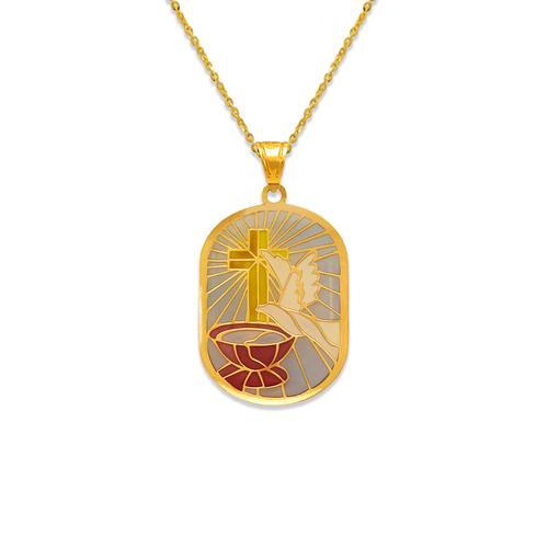 367-703D Oblong Communion Enamel Pendant