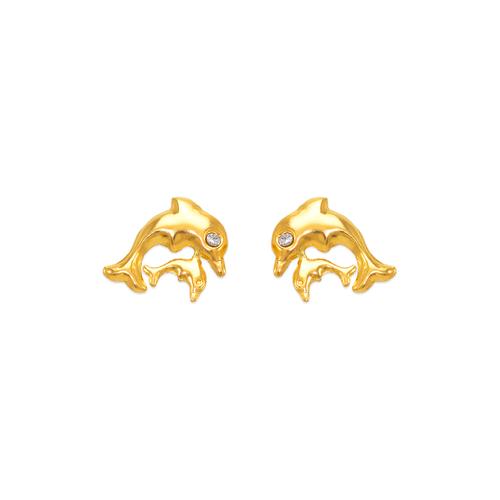343-220 Double Dolphin CZ Stud Earrings