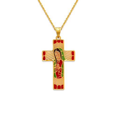 367-741 Guadalupe Cross Enamel CZ Pendant