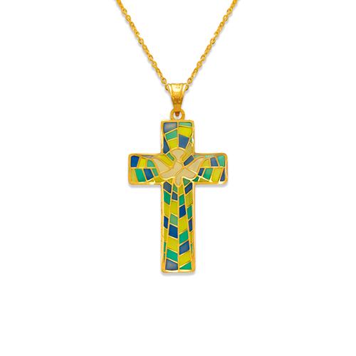 367-742 Communion Cross Enamel CZ Pendant