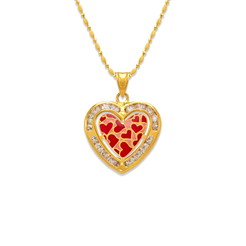 367-771 Heart Enamel CZ Pendant