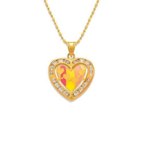 367-772 Heart Enamel CZ Pendant