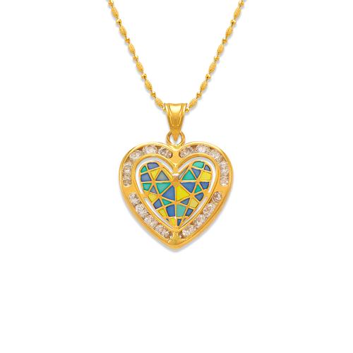 367-773 Heart Enamel CZ Pendant