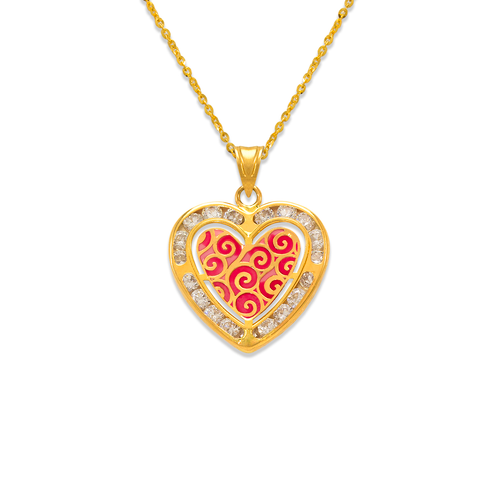 367-774 Heart Enamel CZ Pendant