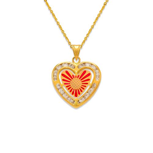 367-775 Heart Enamel CZ Pendant