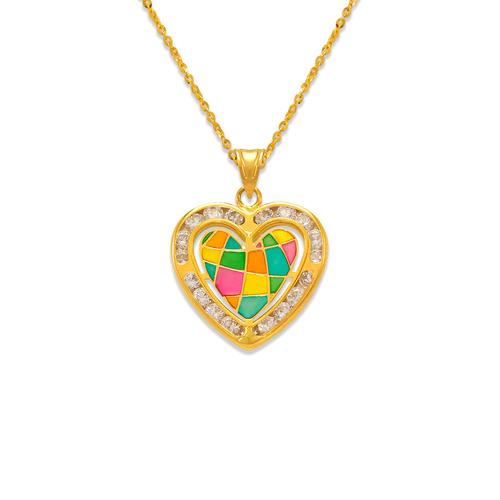 367-776 Heart Enamel CZ Pendant