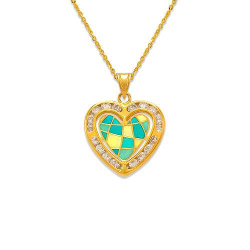 367-777 Heart Enamel CZ Pendant