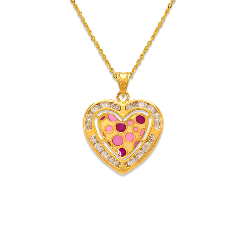 367-779 Heart Enamel CZ Pendant
