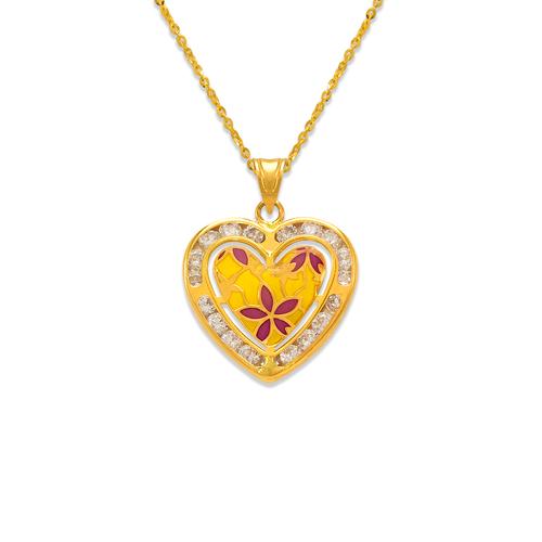 367-780 Heart Enamel CZ Pendant