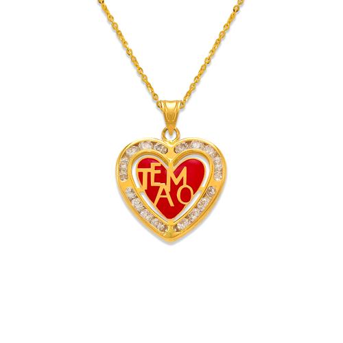 367-781 Heart Te Amo Enamel CZ Pendant