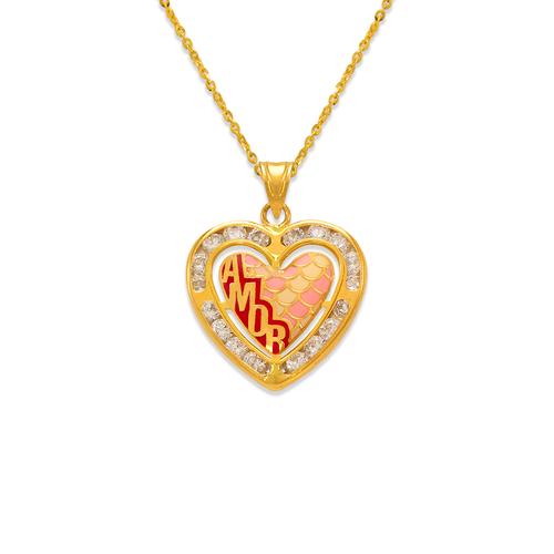 367-782 Heart Amor Enamel CZ Pendant
