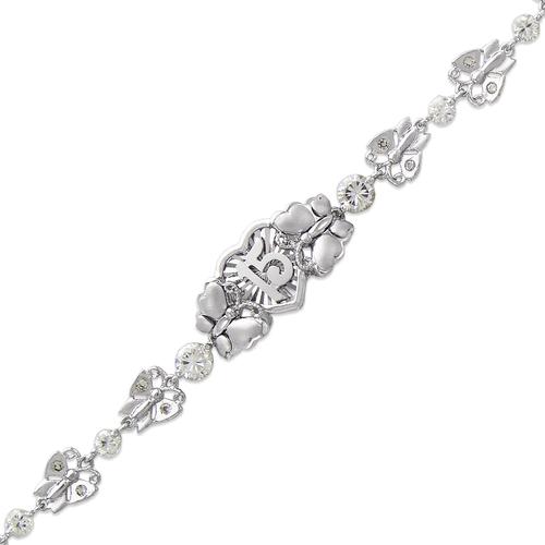 423-101W Ladies Fancy 15 Anos Heart/Butterfly White CZ Bracelet