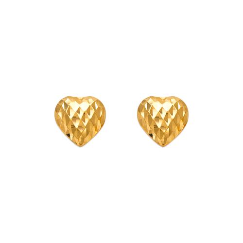 142-103 Diamond Cut Heart Stud Earrings