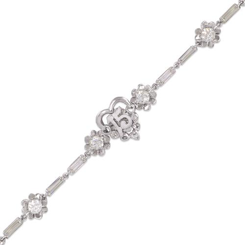 423-102W Ladies Fancy 15 Anos Heart White CZ Bracelet