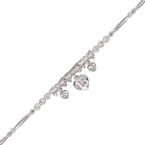 423-103W Ladies Fancy 15 Anos Heart White CZ Bracelet