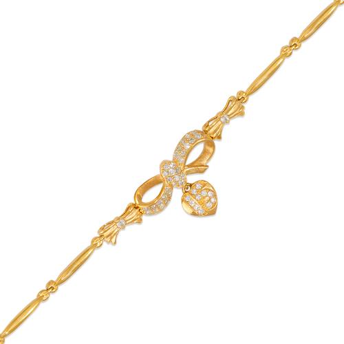 423-104 Ladies Fancy 15 Anos Heart/Ribbon CZ Bracelet