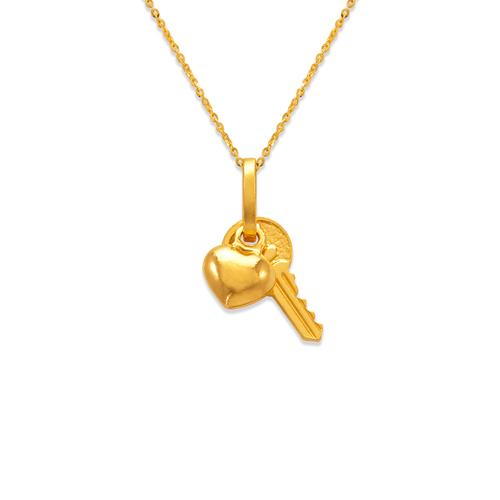 166-033 12mm Heart and Key Charm Pendant