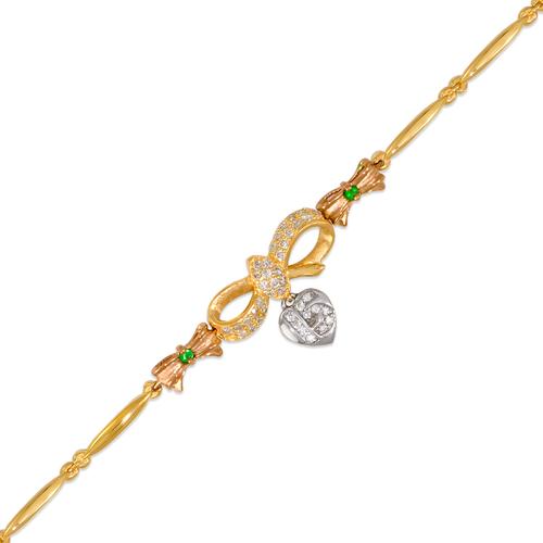 423-104T Ladies Fancy 15 Anos Heart/Ribbon Tricolor CZ Bracelet