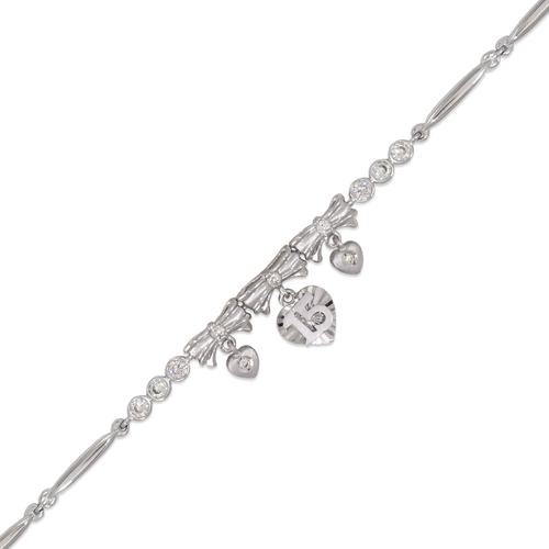 423-104W Ladies Fancy 15 Anos Heart/Ribbon White CZ Bracelet