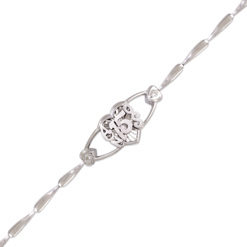 423-106W Ladies Fancy 15 Anos Heart White CZ Bracelet