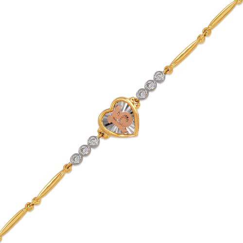423-108T Ladies Fancy 15 Anos Heart Tricolor CZ Bracelet