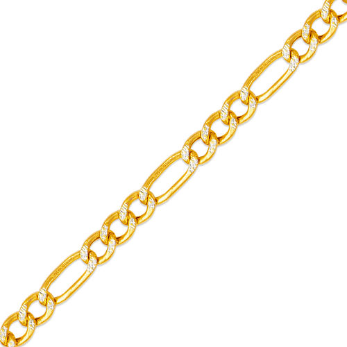 136-201ZS Hollow Figaro White Pave Chain