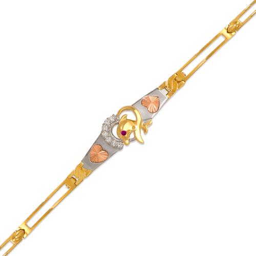 423-109T Ladies Fancy Dolphin Tricolor CZ Bracelet