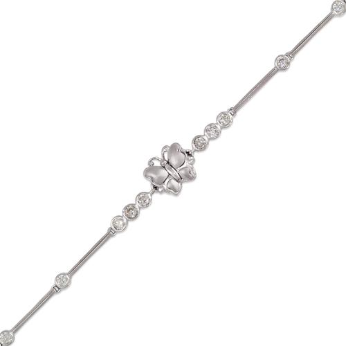 423-110W Ladies Fancy Butterfly White CZ Bracelet